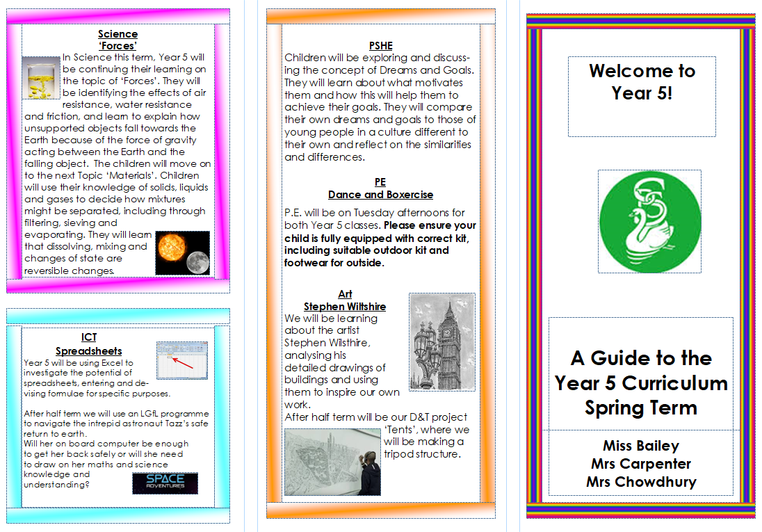 Year 5 Spring term Curriculum Leaflet 2019-2020 PAGE 1